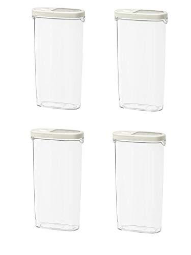 IKEA IKEA 365+ - Tarro de alimentos secos con tapa, 2,3 l, apto para almacenar alimentos secos, [transparente/blanco, 4 piezas]