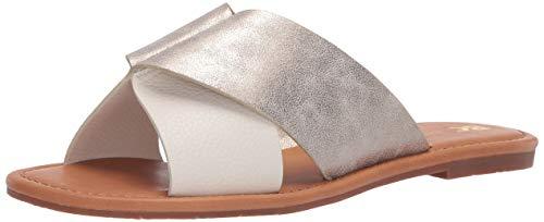 BC Footwear Women's Fierce Slide Sandal, Off White/Gold, 8.5 M US