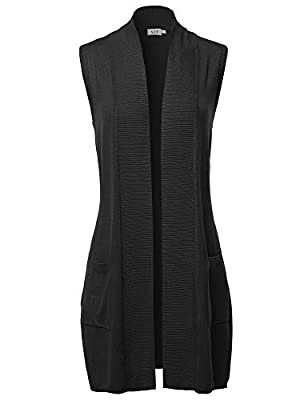 A2Y Open Front Long Sleeveless Draped Side Pockets Vest Knit Sweater Black L from