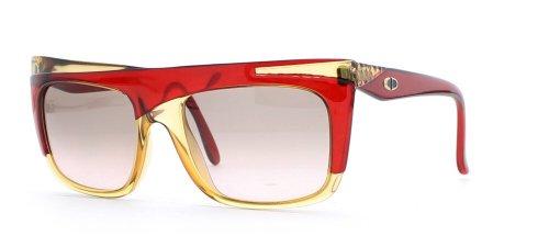 Christian Dior 2400 30 Damen-Sonnenbrille, rechteckig, zertifiziert, Vintage-Stil, Braun / Rot