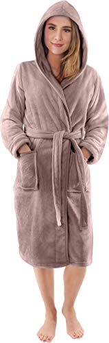 NY Threads Luxuriöses Damen Morgenmantel mit Kapuze, Bademantel Flauschig, Nachtwäsche aus Weichem Fleece - Kuschelfleece Saunamantel für Frauen (Taupe, Small)