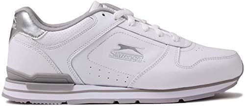 Slazenger Damen Classic Turnschuhe Leder Sneakers Sport Schuhe Schnuerschuhe Weiß/Silber 5.5 (38.5)