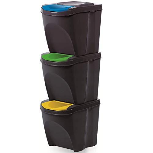 Prosperplast - Cubo de basura con compartimentos, 3 x 20 l, color gris