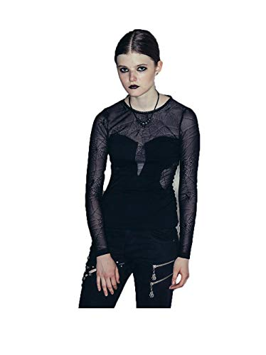 Devil Fashion Gothic Steampunk?Dames Ronde hals Slim Fit Sexy Spider Webs Kant Blouse Top T-Shirt Zwart Lange Mouwen Perspectief T-Shirt,7 Maten