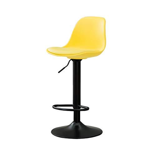 XXHJWXCM E-Sports Gaming Chairs Silla for Bar Altura Ajustable con Respaldo Taburete Alto Asiento Giratorio De Cuero Artificial Ergonómica (Color : Yellow, Size : 75-95cm)