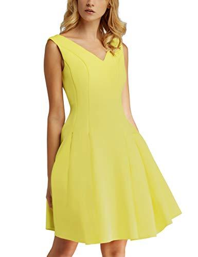 APART Zauberhaftes Damen Kleid, Sommerkleid, V-Ausschnitte vorn und im Rückenpart, weit schwingendes Design, gelb, 38