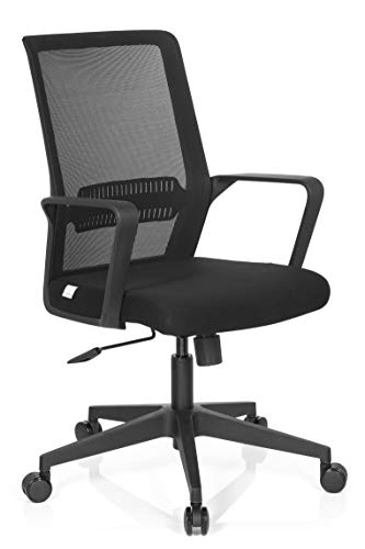 hjh OFFICE 732030 Bürostuhl Preston Stoff Schwarz Home-Office Drehstuhl ergonomisch mit Lendenwirbelstütze, Netzrücken