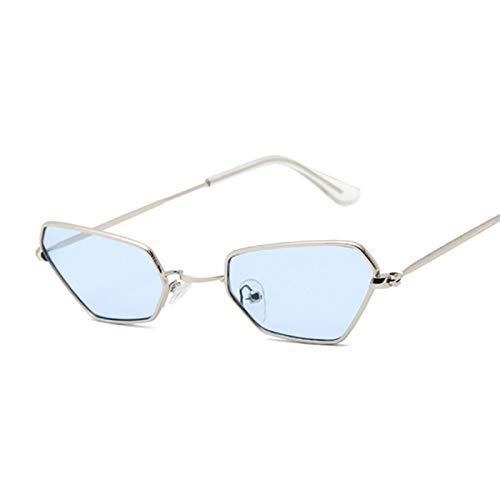 YOULIER Gafas de sol de ojo de gato marco negro marco pequeño mujeres gafas de sol de moda mujeres SilverBlue
