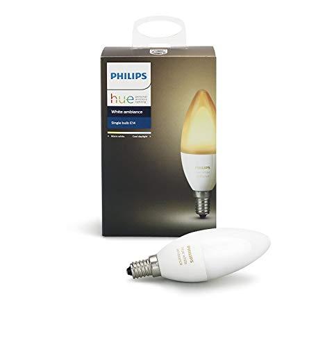 Philips Hue White Ambiance - Bombilla LED individual (1 x 6 W, E14, iluminación inteligente - tonos de luz blanca cálida y fría regulable, compatible con Apple Homekit y Google Home)