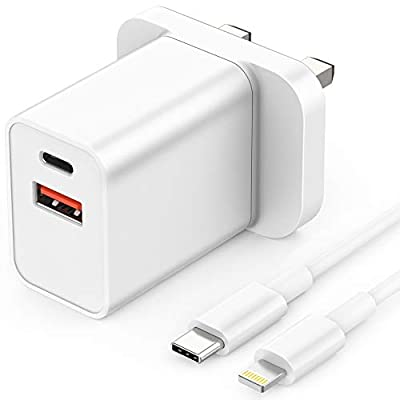 TEMINICE USB Plug Charger, 18W USB C Wall Chargers 2 Ports Mains Adapter Plug Power Adapter, PD 3.0 Fast Charging Power Delivery Adapter for iPhone 11 Pro X Xr XS Max, Galaxy S Note 10+, iPad Pro