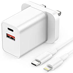 【18W quick charger】: Equipped with USB-C PD and Quick Charger 3.0 for charging up to 18 W power for one port, USB Type-C cable for MFI-certified flash. Automatically detects and adjusts the charging current to get the fastest and safest charging. You...