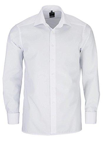 OLYMP Luxor modern fit Hemd Langarm mit New Kent Kragen Chambray weiß Größe 41