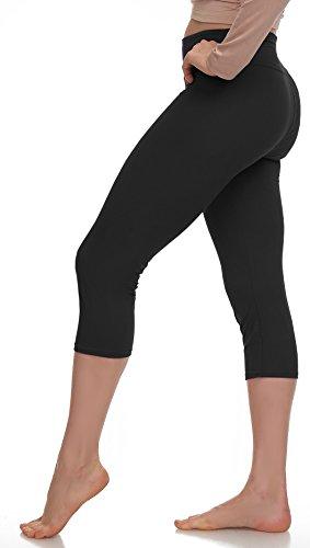 Extra Soft Capri Leggings with High Waist - 20 Colors - Plus (Plus Size (XL - 3XL), Black - Yoga Waist)