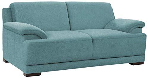 Domo Collection Boxspringsofa Telos / 2er Sofa mit Boxspringfederung / zeitlose Couch mit breiten Armlehnen / 186x96x80 cm / Farbe: petrol