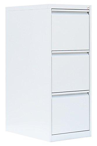 Weißer Profi Stahl Büro Hängeregistratur Schrank Bürocontainer 1010 x 400 x 620mm (HxBxT) mit 3 Schüben, einbahnig 560317 kompl. montiert und verschweißt