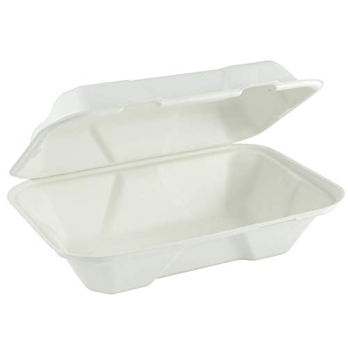 Compostable Takeout Clamshell Container with Lid, 9 inch x 6 inch x 3 inch, Stackable, White, 200 Pack