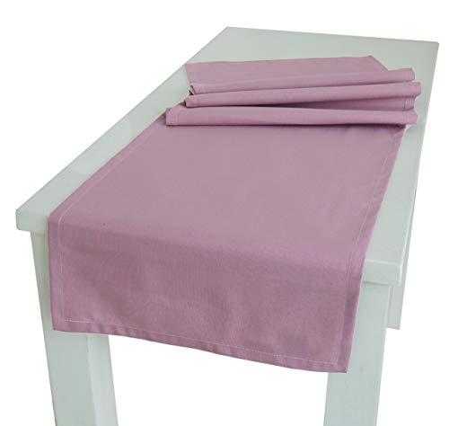 """beties """"Wunschton"""" Tischläufer XL ca. 40x220 cm Tischband in großer Sortiments- und Größenauswahl idealer Uni Begleiter für In & Outdoor (Mauve)"""