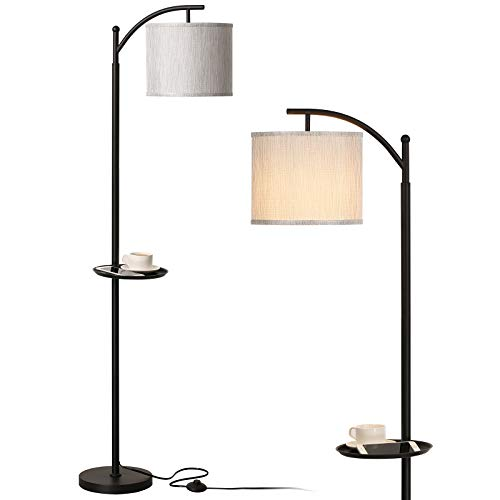 Miceshu Floor Lamps for Living Room, Arc Modern Standing Lamp Adjustable Lamp Safety Base and with Unique Convenient Table for Cellphone and Coffee Cup, Useful Bed Room Decor Floor Lamp