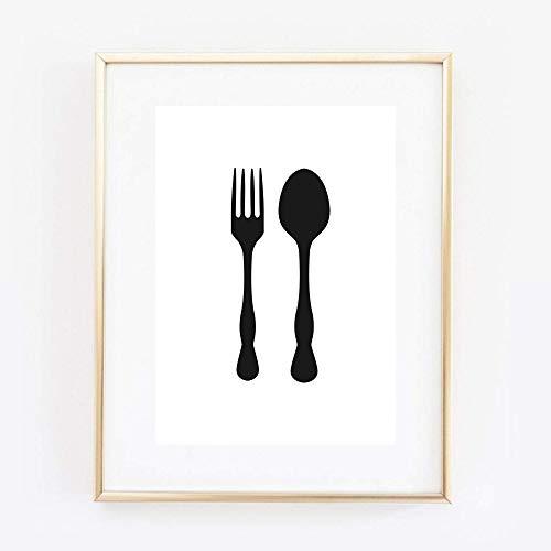 Kunstdruck Din A4 ungerahmt Gabel & Löffel Besteck Minimalismus Küche Esszimmer Poster Bild
