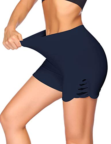 Unibelle Pantalones cortos de deporte para mujer, para correr, yoga, gimnasio, fitness, pantalones cortos de cintura alta, con diseño hueco, tallas S-XXL azul marino XL