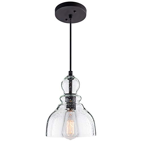 LANROS Industrial Mini Pendant Lighting with Handblown Clear Seeded Glass Shade, Adjustable Cord Farmhouse Lamp Ceiling Pendant Light Fixture for Kitchen Island Restaurant Kitchen Sink, Black, 1 Pack