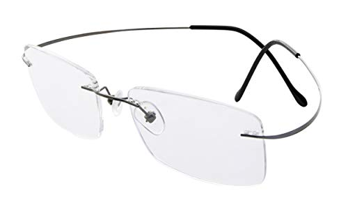 Eyekepper Occhiali da Lettura Senza Montatura Aste in Metallo Gunmetal Occhiali Presbiopia Diottria +1.00