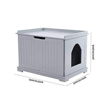 Zerone Bac à Litière de Chat avec Porte, Boîte de Litière de Chat avec Sortie Maison de Toilette de Chat Multifonction pour Animal de Compagnie, 75 x 51 x 52 cm(Gris)