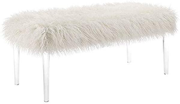 Riverbay 家具人造 Flokati 白色卧室长凳
