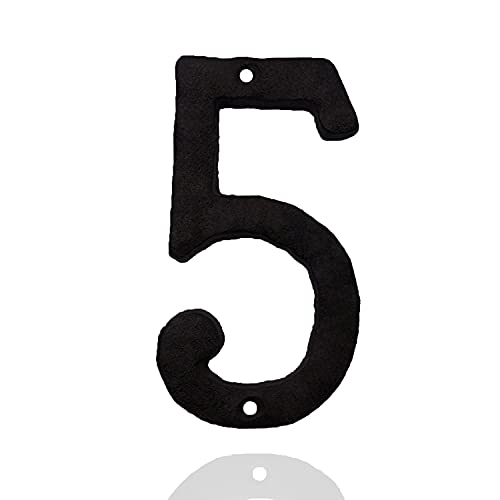 House Numbers for Outside-5.5 Inch high Cast Iron Hammered Style Home Address Numbers or Metal Mailbox Number (Number 5)