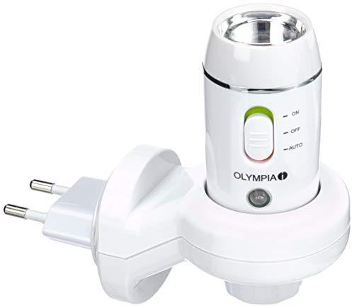 Olympia NL 300 LED Nachtlicht (mit Taschenlampe, Induktions-Ladetechnik, Dämmerungssensor, Notlampe für Steckdose mit Akku / Batterie)