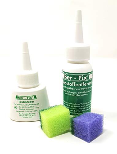 Ber-Fix® 40g Textilkleber waschmaschinenfest transparent Plus 40g Klebstoff-Entferner