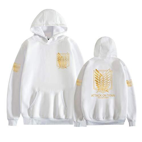 BMDHA Attack on Titan Sudadera con Capucha Pullover Hooded Sweatshirt Wings of Liberty Estampado Disfraz de Cosplay Anime Casual Lana Chaqueta Sudadera con Cremallera,Blanco,XS