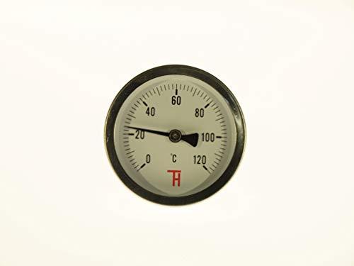 Thermometer voor verwarming analoog 63 mm, aansluiting van achter G1/2 ETR 0-120°C