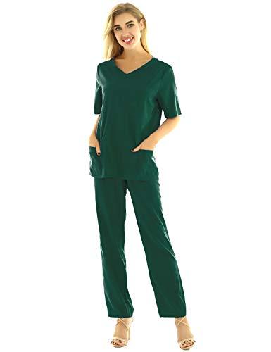 iixpin Unisex Schlupfkasack Schlupfjacke+Schlupfhose Set Medizin Arzt Uniform Berufskleidung Krankenschwester Kasack Bekleidung Gr.S-3XL Armeegrün XXXL