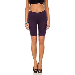 FUTURO FASHION Cotton Leggings 1/2 Length Over-Knee Shorts Active Sport Casual Pants LK Plum 20/22