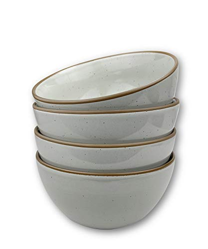 Mora Ceramic Bowls For Kitchen, 28oz - Bowl Set of 4 - For Cereal, Salad, Pasta, Soup, Dessert, Serving etc - Dishwasher, Microwave, and Oven Safe - For Breakfast, Lunch and Dinner - Earl Grey