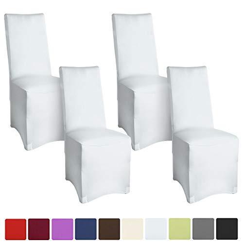 Beautissu Set de 4 Fundas para sillas - Banquete Leona - 45x95 cm cobertor Revestimiento - Elegante Bi-elástica - Oeko-Tex - Blanco