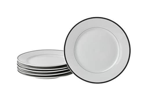Deagourmet 210 Saturne Cordon Noir Lot de 6 Assiettes en Porcelaine de Blanc Blanc