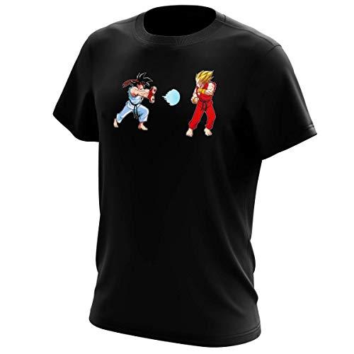 Okiwoki T-Shirt Noir Dragon Ball Z - Street Fighter parodique RYU et Ken Sauce Sangoku et Vegeta : Kamehamehadoken !!! (Parodie Dragon Ball Z - Street Fighter)