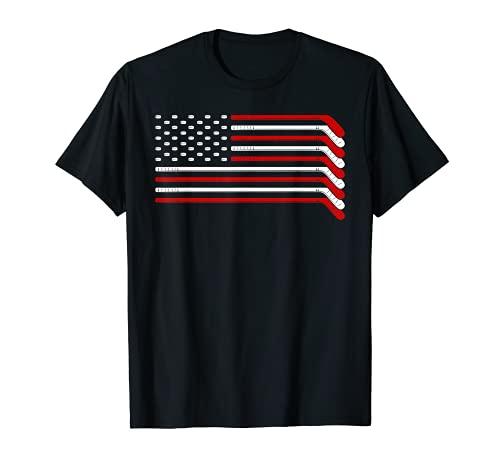Eishockey Torwart Geschenk USA Flagge Hockeyschläger Eishockey T-Shirt