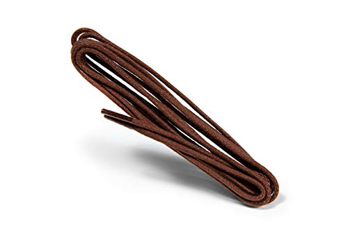 Kaps Cordones Finos Redondos Encerados, Cordones Redondos de Calidad de 2 mm 100% Algodón para Calzado Casual y de Moda, 1 par (90 cm - 36 pulgadas - 5 a 6 pares de ojales / 76 - Marrón)