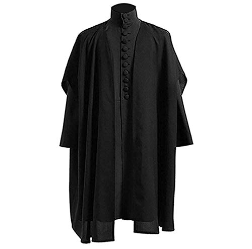 BellaPunk Herren Schwarz Anzug Snape Umhang Robe Cosplay Halloween Kostüm (Damen L, Voll Satz)