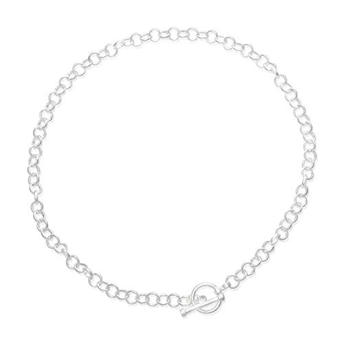 Round Belcher/Rolo (Small) Link Necklace With No Charm Tag & Toggle Clasp - 925 Sterling Silver - 16 Inch