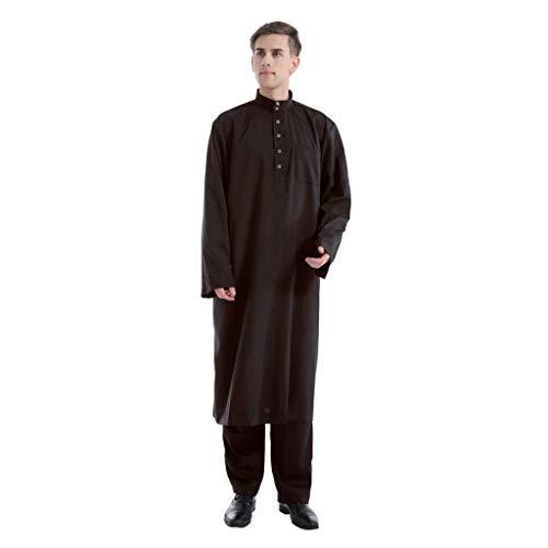 TWIFER 2 Set Männer Ethnische Langarm Islamische Muslimische Mittlere Osten Maxi Robes Hose Suite Kaftan Für Herren
