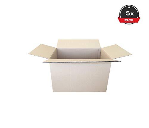 Cajeando | Pack de (5x) Cajas de Cartón de Canal Doble | Tamaño 60 x 40 x 40 cm | Color Marrón | Mudanzas | Cajas Grandes de Almacenaje | Fabricadas en España