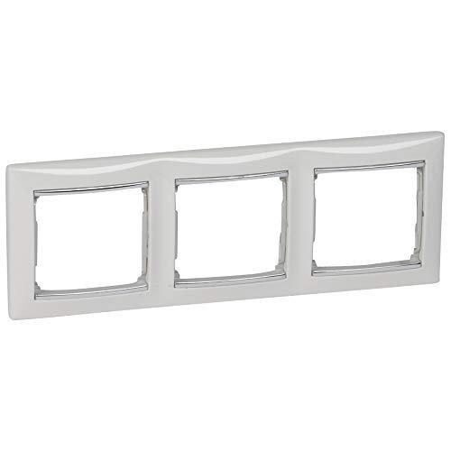 Placa valena, 3 elementos, montaje horizontal, blanco y plata (Legrand 770493)