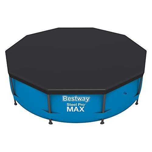 Bestway Best Way Flowclear PVC-Abdeckplane Ø305 cm, Grau, für und Steel PRO Max Pool Ø 305 cm Copripiscina