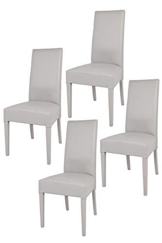 Tommychairs - Set 4 sillas Luisa para Cocina, Comedor, Bar y Restaurante, solida Estructura en Madera de Haya y Asiento tapizado en Polipiel Gris Claro
