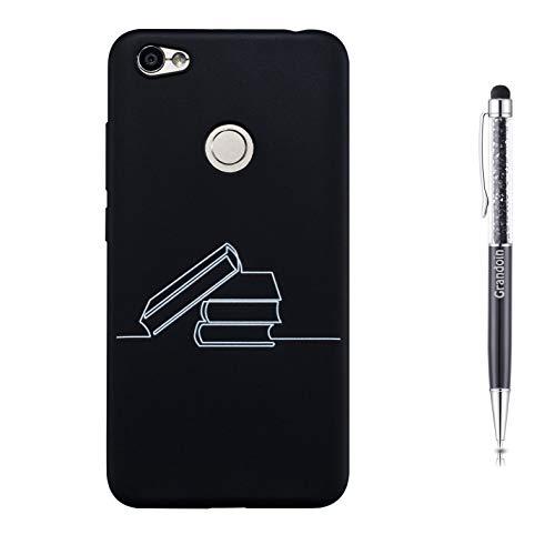 Grandoin Hülle für Xiaomi Redmi Note 5A, Schwarzer Matt TPU Handyhülle Einfache Lackierung Mattes Schlankes Silikon Shockproof Gel Hülle für Xiaomi Redmi Note 5A - Buch