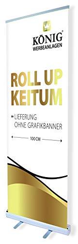 Roll Up Keitum 100x200cm | ohne Banner, ohne Druck | einseitiges Alu Roll-Up, Silber eloxiert | inkl. Tragetasche | Rollup Banner Bannerdisplay Werbebanner Aufsteller für Werbung | Dreifke®